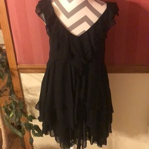 H&M black tiered ruffle chiffon babydoll dress